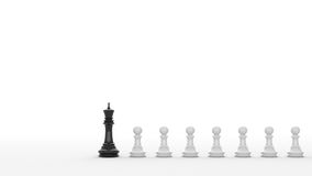 Black chess. Leadership concept, black king of chess, standing out from the crowd of white pawns, on white background. 3D rendering Royalty Free Stock Photography