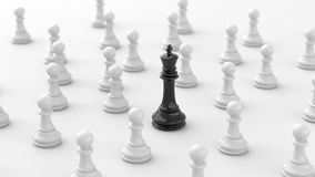 Black chess. Leadership concept, black king of chess, standing out from the crowd of white pawns, on white background. 3D Rendering Royalty Free Stock Images