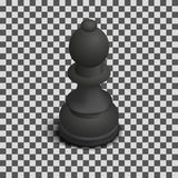 Black Chess Piece Bishop Isometric, Vector Illustration. Royalty Free Stock Image