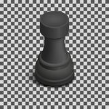 Black Chess Piece Rook Isometric, Vector Illustration. Royalty Free Stock Photos