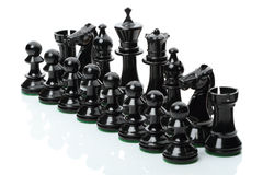 Black chess pieces. Isolated on white background Royalty Free Stock Photography