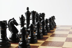 Black chess pieces. Close-up photography Stock Image