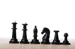 Black chess pieces Stock Images