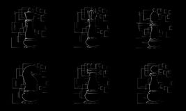Black chess pieces on black abstract background. Vector. Illustration Stock Photography