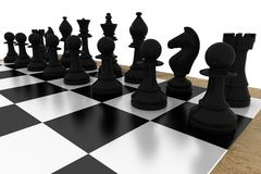 Black chess pieces on board Royalty Free Stock Photo