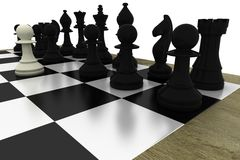 Black chess pieces on board with white pawn Stock Photo