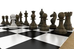 Black chess pieces on board with white pawn Stock Photography