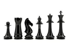 Black chess pieces isolated on white background Royalty Free Stock Image