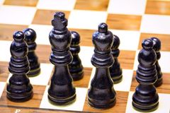 Black chess pieces. Lined up on the first rank Royalty Free Stock Photos