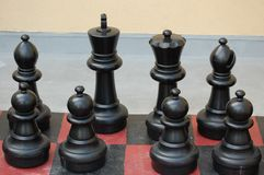 Black Chess Pieces Stock Photo