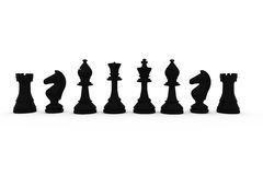 Black chess pieces in a row Stock Images