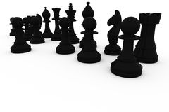 Black chess pieces in a row Royalty Free Stock Images