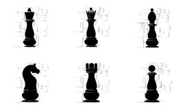 Black chess pieces on the white abstract background. Vector Royalty Free Stock Photo