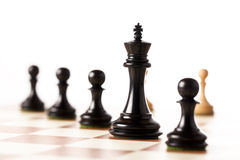 Black chess pieces with white pawns in the background on a chessboard Stock Image