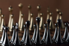 Black chess queen. The photo shows the chessboard with metal figures Stock Photography