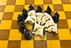 Black chess round the white Royalty Free Stock Photo
