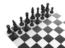 Black Chess Set. Chess board with starting positions aligned chess pieces, isolated on white background Royalty Free Stock Image