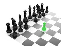Black Chess Set. Chess pieces arranged on a chess board and green pawn standing out from the crowd with first move, isolated on white background Stock Images