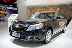 Black chevrolet epica car. In the 2014 china zhengzhou  international automotive exhibition Royalty Free Stock Photography
