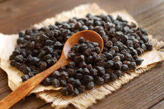 Black Chickpea with a spoon Stock Photos