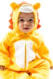 Black child boy,dressed in lion carnival suit. Isolated on white royalty free stock images