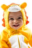 Black child boy,dressed in lion carnival suit, isolated on white background. Baby zodiac - sign Leo. Royalty Free Stock Photos