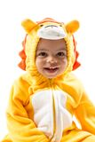 Black child boy,dressed in lion carnival suit, isolated on white background. Baby zodiac - sign Leo. Royalty Free Stock Images