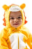 Black child boy,dressed in lion carnival suit, isolated on white background. Baby zodiac - sign Leo Stock Images