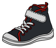 Black childrens sneaker. Hand drawing of a black, red and white childrens sport shoe Stock Images