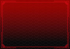 Black chinese background with red border. Abstract mysterious wallpaper with decoration frame Royalty Free Stock Photos