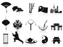 Black chinese icons set Stock Images