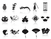 Black chinese new year icon. Isolated black chinese new year icons on white background Stock Photography