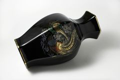 Black Chinese vase Royalty Free Stock Images