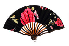 Black chinnese fan with roses Royalty Free Stock Photography