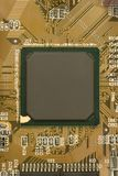 Black chip processor on circuit board Royalty Free Stock Photos