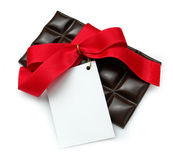 Black Chocolate, red ribbon Royalty Free Stock Image