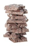 8-black chocolate tower isolated on a white Stock Photos