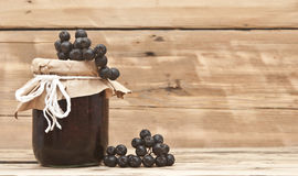 Black chokeberry jam Stock Images