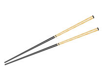 Black chopsticks with gold ornament Stock Photos