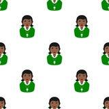 Black Christian Girl Avatar Seamless Pattern stock illustration