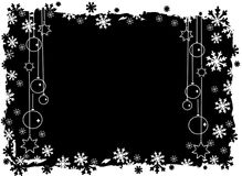 Black christmas background. With snowflakes and balls Royalty Free Stock Photo