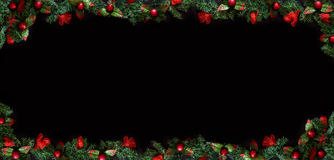 Black Christmas Background with empty copy space. Decorative xmas frame for concept or cards. Stock Photography