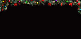 Black Christmas Background with empty copy space. Decorative xmas frame for concept or cards. Stock Image