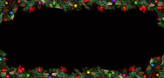 Black Christmas Background with empty copy space. Decorative xmas frame for concept or cards. Royalty Free Stock Images