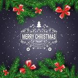Black Christmas Background With Frame From Fir Branches Decorated With Red Bows. Vector Illustration Stock Images