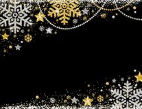 Black christmas background with frame of golden and silver glittering snowflakes, stars and garlands, vector illustration vector illustration