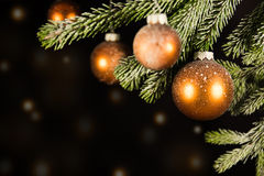 Black christmas background with golden lights Royalty Free Stock Photos