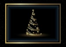 Black Christmas Background with Golden Xmas Tree vector illustration