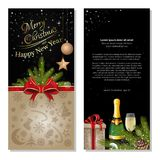 Black Christmas background. Black background for Christmas and New Year. Greeting card with red ribbon, bow, spruce branches, bottle of champagne, gift box and Royalty Free Stock Photo