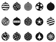 Black Christmas ball, christmas bauble icons set Royalty Free Stock Images